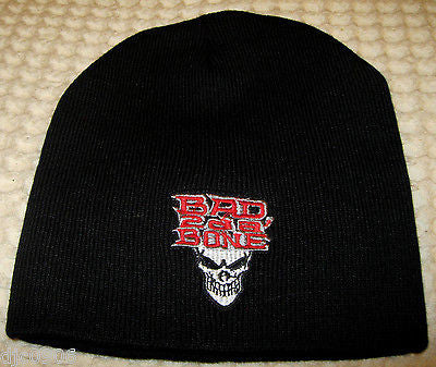 Bad 2 da Bone Skull Bad to the Bone Embroidered Black Beanie Ski Hat Cap Beanie