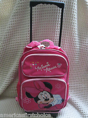 "WALT DISNEY MICKEY MOUSE 16"" ROLLING DETACHABLE BACKPACK!DETACHABLE BACK PACK"
