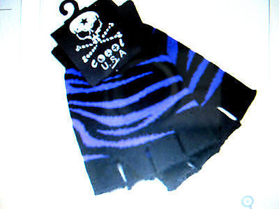 PURPLE ZEBRA ANIMAL PRINT FINGERLESS GLOVES KNIT SAFARI ANIMALPRINT -NEW!