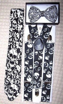 Unisex Skulls Design,Laughing Skulls Neck Tie,& Wide Skulls Suspenders Combo-New