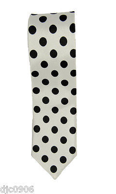 "Unisex White with Large Black Polka Dots Neck tie 56"" L x 2"" W-Polka Dot Tie-New"