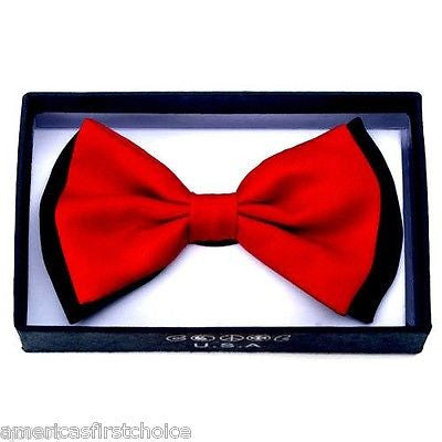 BLACK WITH WHITE TRIM AND TIPS TUXEDO ADJUSTABLE BOWTIE BOW TIE-NEW BOX!