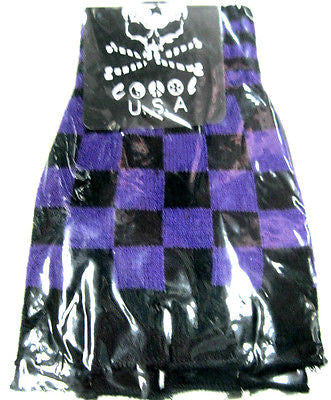 BLACK PURPLE CHECKERED PATTERN PUNK GOTHIC FINGERLESS CUTOFF GLOVES-NEW!