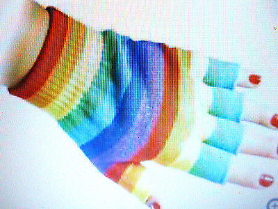 RAINBOW STRIPES STRIPED CUTOFF KNIT FINGERLESS GLOVES WINTER WOMENS GIRLS