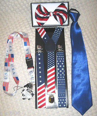 American Flag Suspenders,Lanyard,Blue Tie &Red,White,Blue Stripes Bow Tie-New!