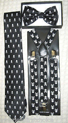 Unisex Skulls Adjustable Bow tie, Skulls Neck Tie,& Skulls Suspenders Combo-New