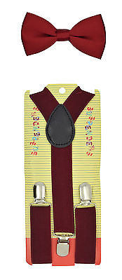 Kids Teens Burgundy Adjustable Bow Tie & Burgundy Y-Back Suspenders-New!VERSION2