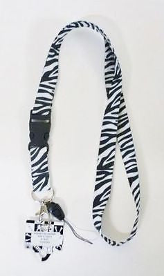 Black and White Zebra Print Lanyard Keychain ID Holder + Mobile Devices-New!