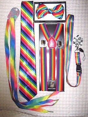 Men's Rainbow Stripes Adjustable Bow tie,Neck Tie,Suspenders,Lanyard,Shoelaces10