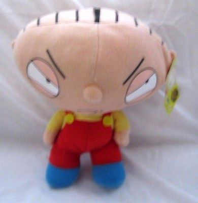 "9"" Stewie wearing red overalls and Large Head Soft Stuffed Toy-Brand New!"