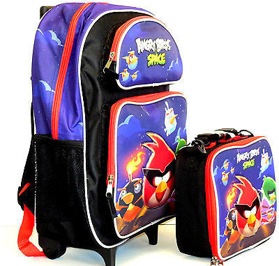 "Angry Birds Space Large School Rolling Backpack 16"" With Insulated Lunch Box!"