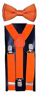 Kids Teens Orange Adjustable Bow Tie & Orange Adjustable Suspenders Combo-New!