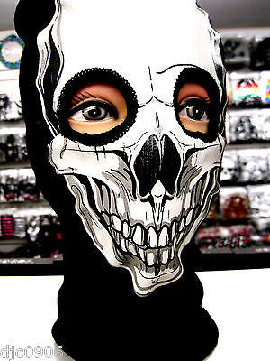 Beanie Full Face Smiling Skeleton Skull face mask costume halloween attire-New!