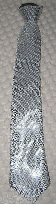 Silver Gray Grey Sequin Neck tie & Silver Glittered Suspenders Combo Set-New!