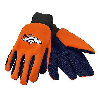 Denver Broncos Orange/Black Raised Team Logo Licensed NFL Sport Utility Gloves