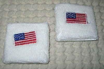 US American Flag on White Wristbands Sweatbands PAIR-Pair of Red Star Bands-New