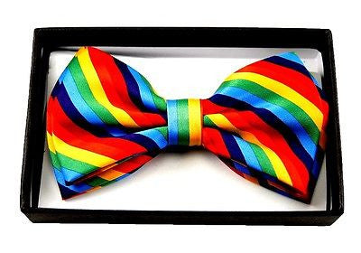 RAINBOW STRIPED STRIPES ADJUSTABLE  BOW TIE BOWTIE-NEW GIFT BOX!VERSION3