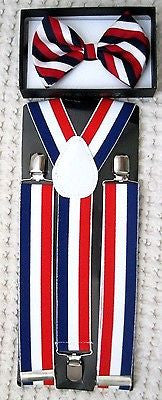 "1 1/2"" US Flag Patriotic Red White Blue Stripes Suspenders&matching Bow Tie-New"