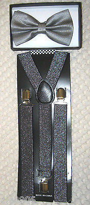 GRAY SILVER SEQUIN PATTERN  ADJUSTABLE  BOW TIE + SILVER GLITTER SUSPENDERS SET