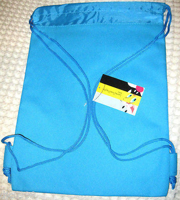 LOONEY TUNES BLUE DRAWSTRING BAG BACKPACK TRAVEL STRING POUCH BY WERNER BROTHERS