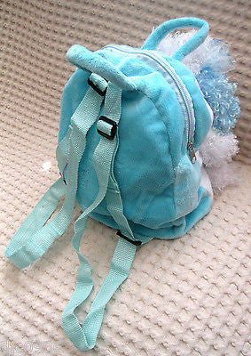 ADORABLE BLUE PODDLE DOG IN STRIPED SKIRT DETACHABLE PLUSH BACKPACK-NEW WITH TAG