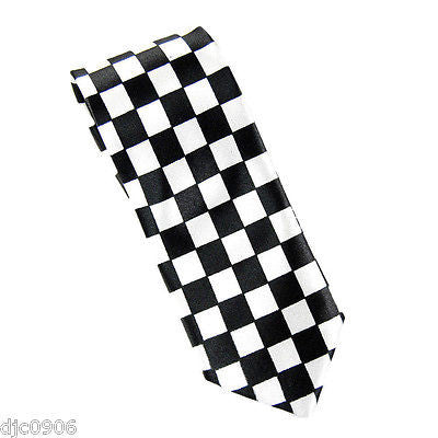 "Unisex Blue and Black Checkered Checkers Diamonds Neck Tie 56"" L x 2 1/2"" W-New"