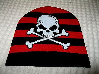 Black & Red Stripes with Skull & Crossbones Winter Ski Hat Cap Beanie-New!