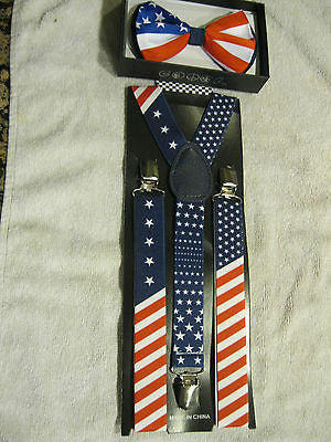 US Flag Patriotic Red White Blue Stripes Suspenders & Patriotic Stripes Bow Tie