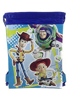 DISNEY TOY STORY WOODY BUZZ BLUE DRAWSTRING BAG BACKPACK TRAVEL STRING TOTE-VE2!