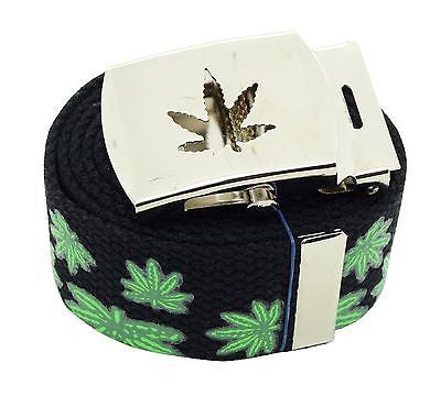 "Canvas Military ""Marijuana"" MJ Leaves Web Belt & Matching Belt Buckle-New!VERS2"