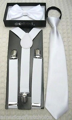 Kids Teens Black Adjustable Bow Tie & Black Adjustable Suspenders Set-New!