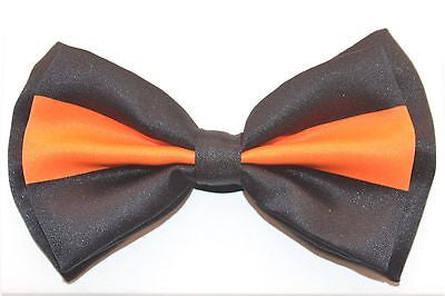 BLACK WITH ORANGE STRIPE TWO TONE TUXEDO ADJUSTABLE BOWTIE BOW TIE-NEW BOX!