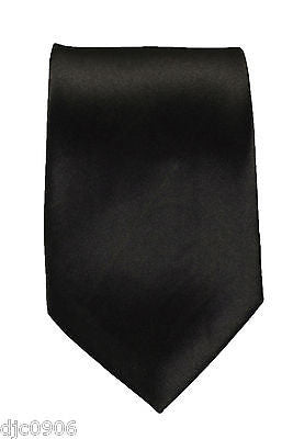 "Unisex Dark Black Silk Feel Neck tie 56"" L x 3"" W-Black NeckTie-Black Tie-New"
