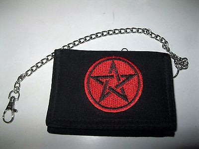 "Black with red Pentagram Star Wallet Unisex Men's 4.5"" x 3"" W-New in Package!"