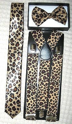 Brown Adjustable Bow tie and Cheetah Leopard Animal Print Adjustable Suspenders