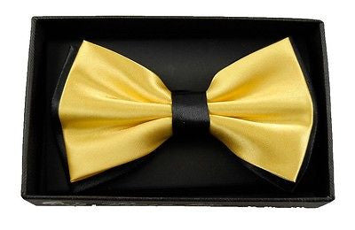 YELLOW WITH BLACK ENDS/TIPS TWO TONE TUXEDO ADJUSTABLE BOWTIE BOW TIE-NEW BOX!