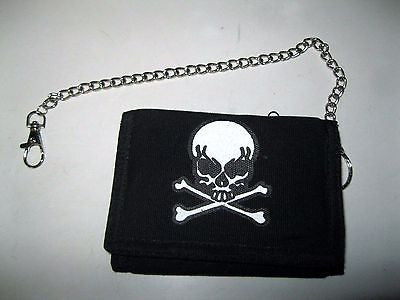 "Black with Skull and Crossbones Wallet Unisex Men's 4.5"" x 3"" W-New in Package!2"