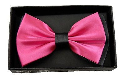 HOT PINK WITH BLACK ENDS/TIPS TWO TONE TUXEDO ADJUSTABLE BOWTIE BOW TIE-NEW BOX!