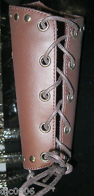 Brown Leather Gothic Cross Lace-Up Gauntlet Wristband METAL,PUNK,GOTH,BIKER-New