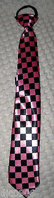 Pink Black Checkered Pre-Tied Neck tie & Pink Adjustable Suspenders Set-New