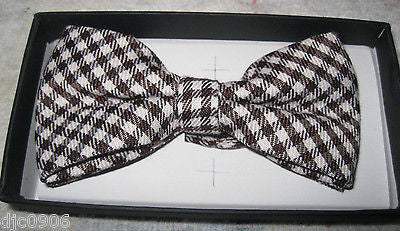 TAN BEIGE BROWN CHECKERS TUXEDO ADJUSTABLE  BOW TIE BOWTIE-NEW IN GIFT BOX!