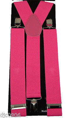 "THICK  1 1/2"" PINK Adjustable Y-Style Back suspenders-PINK Suspenders-New!"