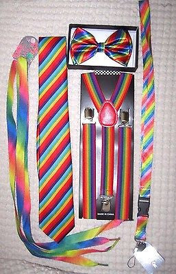Men's Rainbow Stripes Adjustable Neck Tie & Rainbow Adjustable Y-Back Suspenders