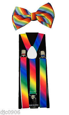 Unisex Rainbow Stripes Adjustable Bow tie+Rainbow Adjustable Suspenders Combo-V4
