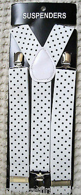 "WHITE WITH BLACK POLKA DOT ADJUSTABLE WIDE 1 1/4"" 1 1/2"" WIDE SUSPENDERS-NEW!"
