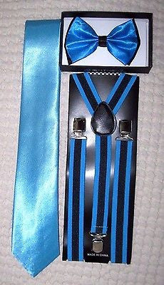 French Blue Black 2 Tone Bow Tie,Neck Tie,& Black+French Blue Stripes Suspenders