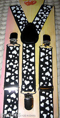 Black with White Hearts Kids Boys Girls Y-Style Back Adjustable suspenders-New!