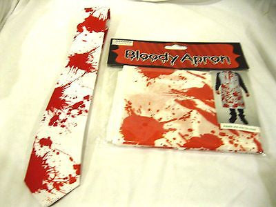 "Unisex Bloody Blood Splatter 3"" Neck Tie and Bloody Blood Splatter Apron-New!"