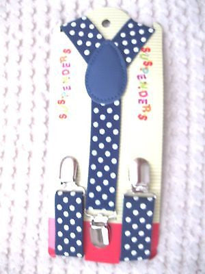 Kids Boys Girls Blue with White Polka Dots Adjustable Y-Back Suspenders-New!