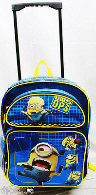 "Despicable Me 2 Minions Jerry Stuart Rolling School 16"" Backpack Universal-New"